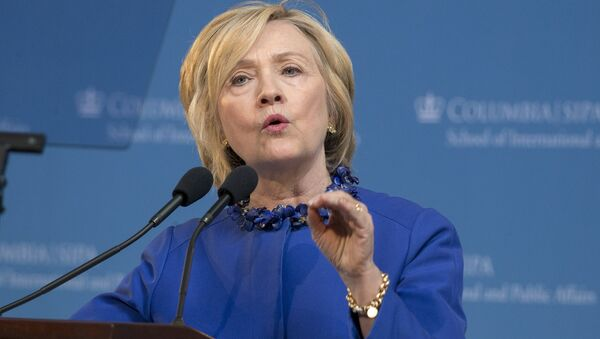 Democratic presidential candidate Hillary Clinton delivers the keynote address at the 18th Annual David N. Dinkins Leadership and Public Policy Forum at Columbia University in New York April 29, 2015 - Sputnik France