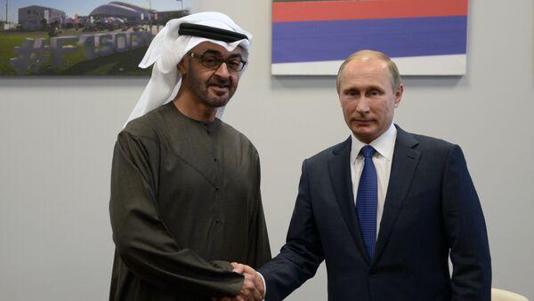 Le président russe Vladimir Poutine et le prince héritier d'Abou Dhabi, Mohammed ben Zayed Al-Nahyane - Sputnik France