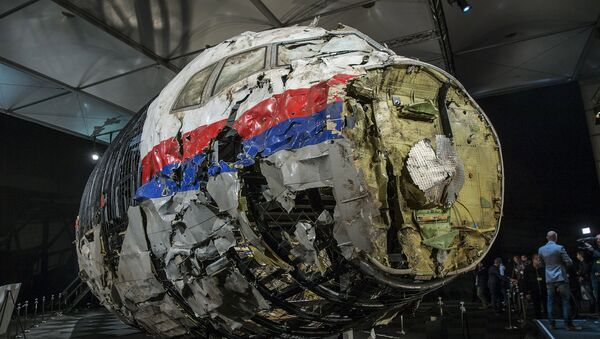 The reconstructed wreckage of the MH17 airplane is seen after the presentation of the final report into the crash of July 2014 of Malaysia Airlines flight MH17 over Ukraine, in Gilze Rijen, the Netherlands, October 13, 2015 - Sputnik France