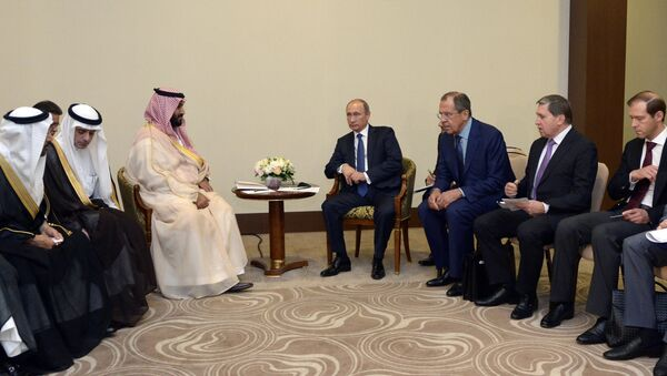 Встреча президента РФ В.Путина с заместителем наследного принца Саудовской Аравии М.ибн Салманом Аль Саудом - Sputnik France