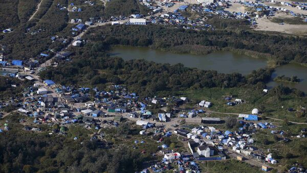 An aerial view of a field called the New Jungle with tents and makeshift shelters where migrants and asylum seekers stay, is seen in Calais, France, in this picture taken October 1, 2015. - Sputnik France
