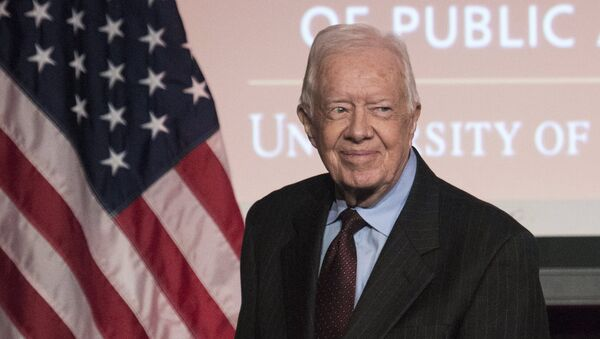 Former U.S. President Jimmy Carter arrives to speak during an event honoring former U.S. Vice President Walter Mondale hosted by the Humphrey School of Public Affairs at the University of Minnesota in Washington October 20, 2015. - Sputnik France