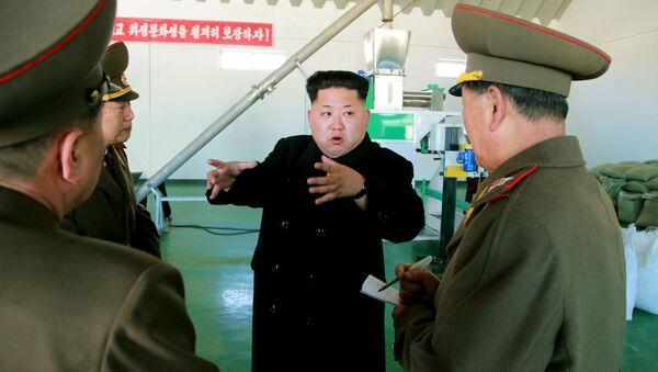 Le dirigeant nord-coréen Kim Jong-Un s'entretient avec les responsables militaires du pays. Mars 2015 - Sputnik France