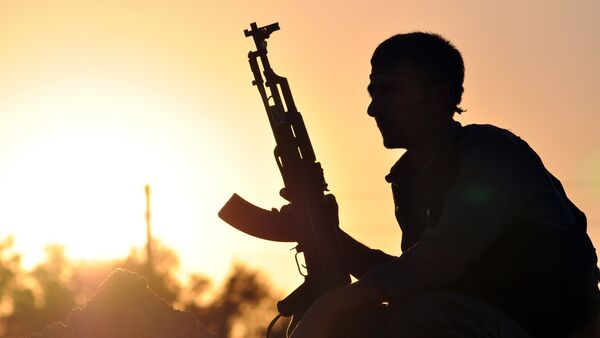 A fighter from the Kurdish People Protection Unit (YPG) poses for a photo at sunset in the Syrian town of Ain Issi, some 50 kilometres north of Raqqa - Sputnik France