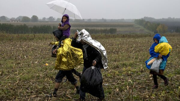 Migrants protect themselves from the rain as they walk through a field close to the border with Croatia near the village of Berkasovo, Serbia, October 19, 2015 - Sputnik France