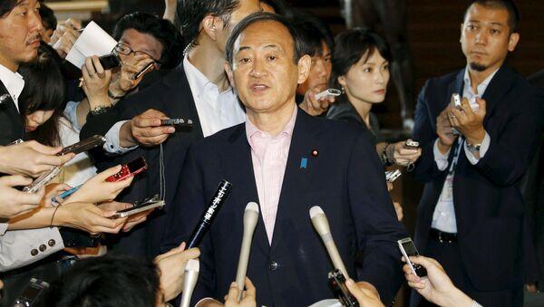 Le porte-parole du gouvernement japonais  Yoshihide Suga lors d'une conférence de presse à Kyodo, le 29 mai 2015 - Sputnik France
