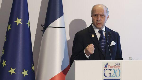 Le ministre français des Affaires étrangères Laurent Fabius parle lors d'une conférence de presse au Sommet du G-20 le 16 Novembre, 2015 Antalya - Sputnik France