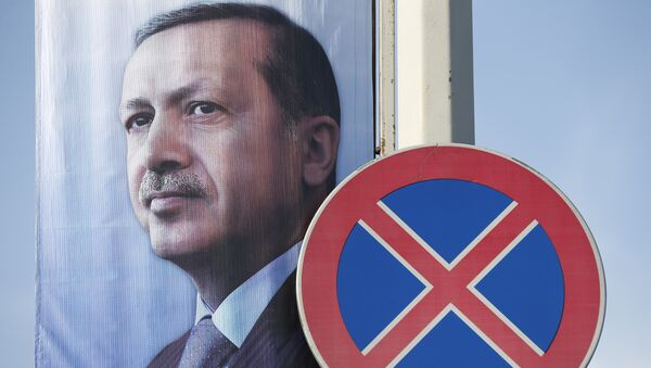 Un poster avec une image du président de la Turquie Recep Tayyip Erdogan - Sputnik France