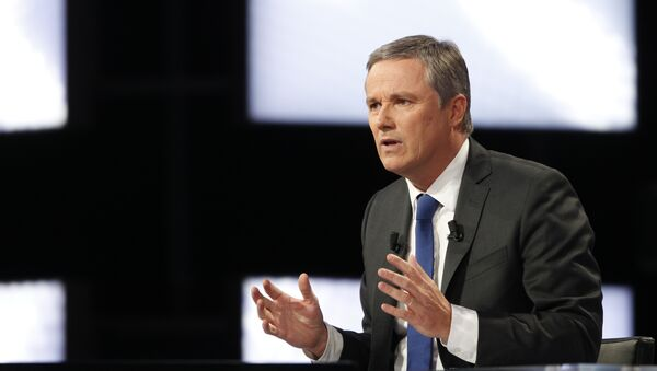 Gaullist candidate for the 2012 French presidential election, Nicolas Dupont-Aignan takes part in the TV broadcast show Des paroles et des actes on a French TV channel. (File) - Sputnik France