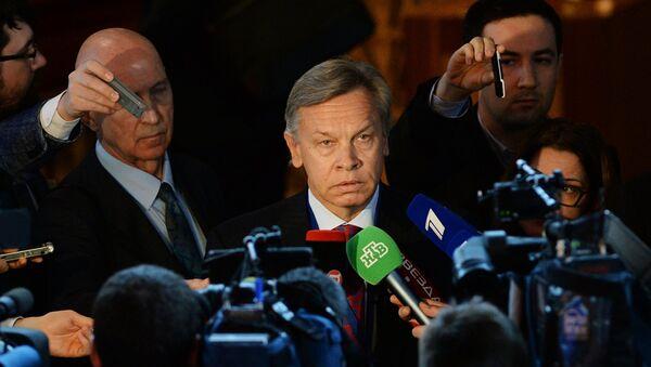Alexeï Pouchkov intervient en marge d'une session de l'Assemblée parlementaire du Conseil de l'Europe - Sputnik France