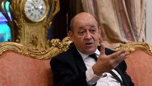 Jean-Yves Le Drian à l'ambassade française à Moscou le 21 Décembre 2015 - Sputnik France