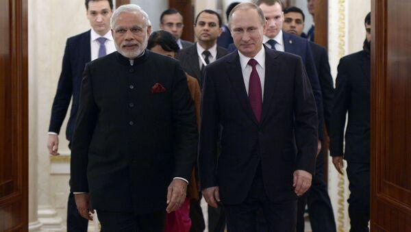 Vladimir Putin och Narendra Modi - Sputnik France
