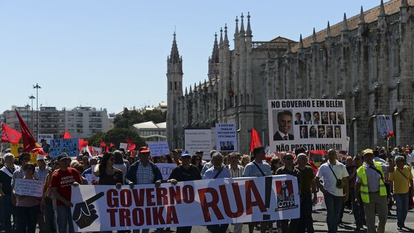 Manifestation contre le gouvernement à Lisbonne, le Portugal. - Sputnik France