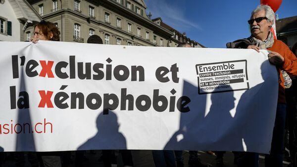 Manifestration à Berne contre une initiative d'expulser les étrangers. Archive photo - Sputnik France