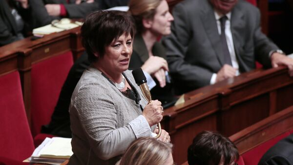 French MP of the Jura department, Marie-Christine Dalloz (UMP) speaks during the weekly session of questions to the government at the National Assembly on October 23, 2012 in Paris. AFP PHOTO JACQUES DEMARTHON - Sputnik France