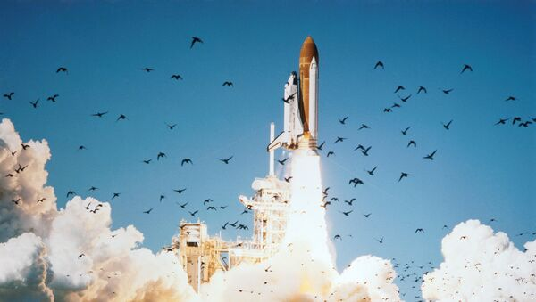 The space shuttle Challenger lifted off from Pad 39B Jan. 28, 1986 at 11:38 a.m. (EST) with a crew of seven astronauts and the Tracking and Data Relay Satellite (TDRS). An accident 73 seconds after liftoff claimed both crew and vehicle. - Sputnik France