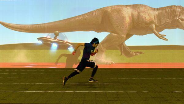 course entre un homme et un tyrannosaure - Sputnik France