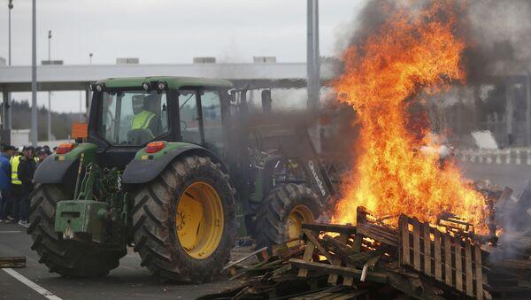 Les éleveurs français se rassemblent près des palettes brûlantes pour protester contre la chute des prix sur l'autoroute à Ancenis, l'ouest de la France, le 27 Janvier, 2016 - Sputnik France