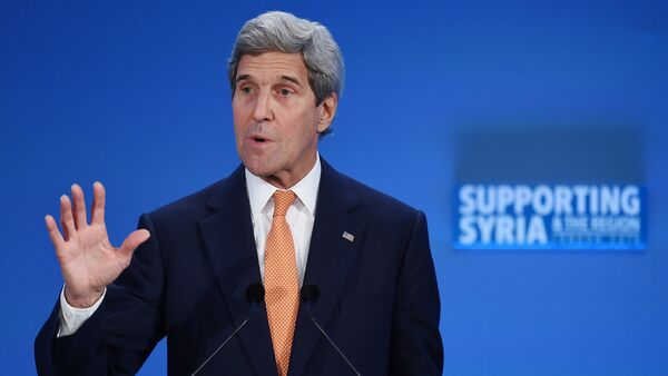 US Secretary of State John Kerry addresses delegates during during a donor conference entitled 'Supporting Syria & The Region' at the QEII centre in central London on February 4, 2016 - Sputnik France