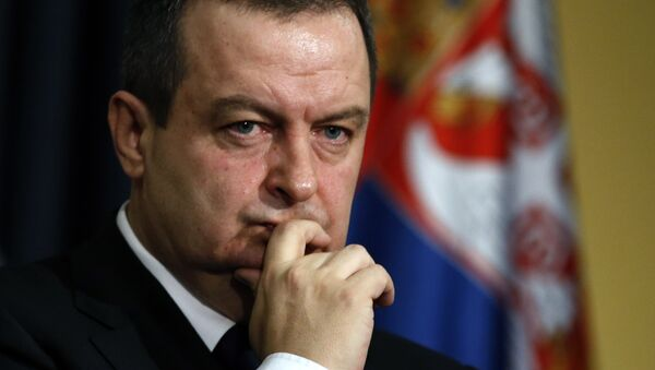 Serbian Foreign Minister Ivica Dacic gestures, during a news conference in Belgrade, Serbia, Saturday, Feb. 20, 2016.  - Sputnik France