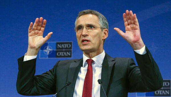 NATO Secretary-General Jens Stoltenberg gestures during a news conference ahead of a NATO defense ministers meeting, which will be held on February 10-11, at the Alliance's headquarters in Brussels, Belgium February 9, 2016. - Sputnik France