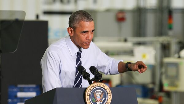 Le président Barack Obama parle après sa visite de l'usine Saft America à Jacksonville, en Floride., Le vendredi 26 février 2016 - Sputnik France
