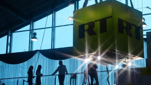Logo de la chaîne de télévision RT - Sputnik France