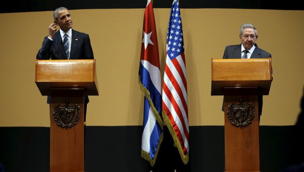U.S. President Barack Obama and Cuban President Raul Castro attend a news conference as part of President Obama's three-day visit to Cuba, in Havana March 21, 2016 - Sputnik France