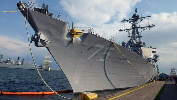 The USS Destroyer Donald Cook is seen at the Constanta shipyard in the Romanian Black Sea port of Constanta, on April 14, 2014 - Sputnik France