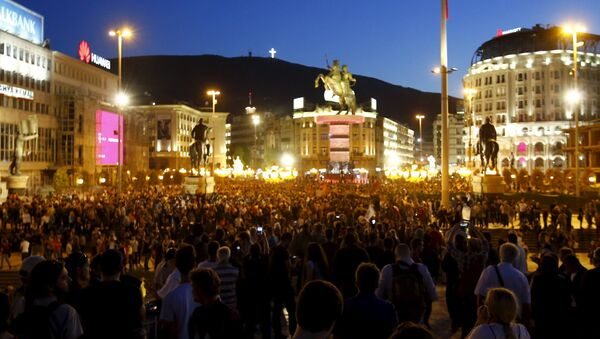 Actions de protestation à Skopje, le 15 avril 2016 - Sputnik France