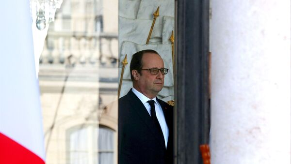 French President Francois Hollande stands in the entrance of the Elysee Palace following the weekly cabinet meeting in Paris, France, March 2, 2016. - Sputnik France