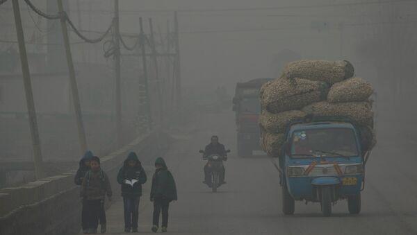 Sur cette photo, les enfants vont à pied à la maison après l'école pendant un jour gravement pollué à Shijiazhuang, dans la province du Hebei nord de la Chine, le 26 février 2014 - Sputnik France