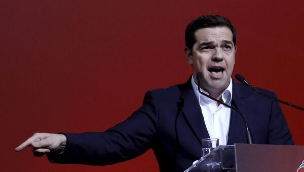Greek Prime Minister Alexis Tsipras delivers a speech marking one year since he was first elected to power in Athens, Greece, January 24, 2016. - Sputnik France