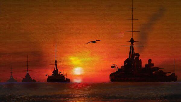 Peinture: la deuxième escadre de bataille de la Grande Flotte de la Royal Navy pendant la Première Guerre mondiale - Sputnik France