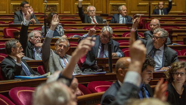 Сенаторы во время голосования французского сената по принятию резолюции с призывом о смягчении санкций против России - Sputnik France