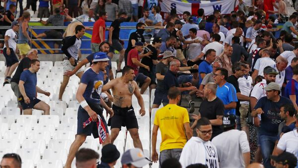 Football Soccer - England v Russia - EURO 2016 - Group B - Stade Vélodrome, Marseille, France - 11/6/16 Fans clash in the stadium after the game - Sputnik France
