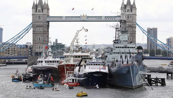 Remain campaigners in dinghies try to disrupt a demonstration by a flotilla of fishing vessels campaigning to leave the European Union on the river Thames in London, Britain June 15, 2016. - Sputnik France