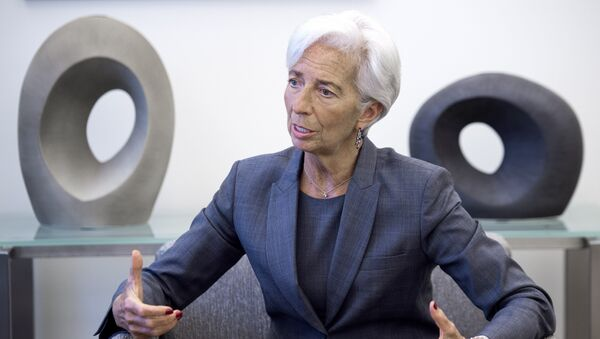 International Monetary Fund (IMF) Managing Director Christine Lagarde speaks during an interview at the IMF headquarters in Washington on July 6, 2016. - Sputnik France
