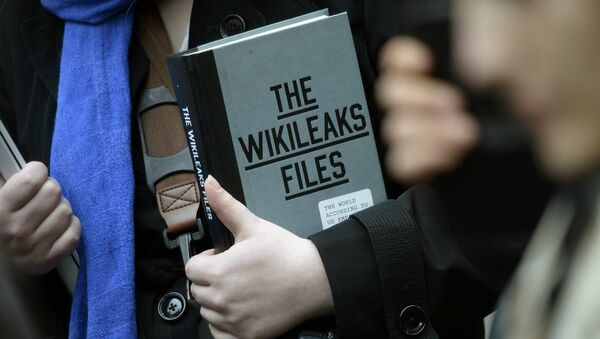 A supporter of WikiLeaks founder julian Assange holds a copy of The WikiLeaks Files outside the Ecuadorian embassy in central London, Britain February 5, 2016 - Sputnik France