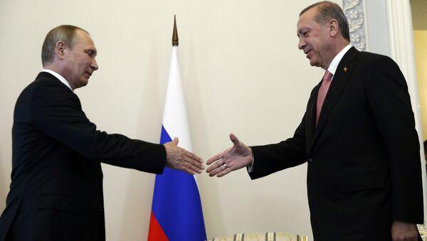 Le dirigeant russe Vladimir poutine et son homologue turc Recep Tayyip Erdogan - Sputnik France