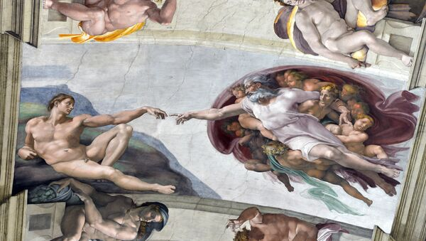 Фреска Микеланджело с изображением Адама на потолке Сикстинской капеллы в Ватикане - Sputnik France