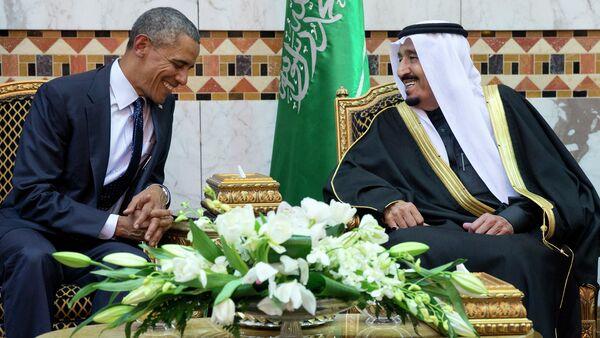 FILE - In this Jan. 27, 2015 file photo, President Barack Obama meets Saudi Arabian King Salman bin Abdul Aziz in Riyadh, Saudi Arabia - Sputnik France