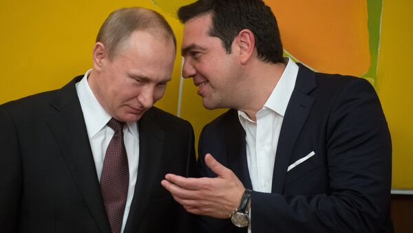 May 27, 2016. Russian President Vladimir Putin and Greek Prime Minister Alexis Tsipras following Russian-Greek talks in Athens. - Sputnik France