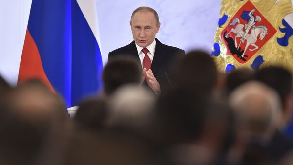 Russian President Vladimir Putin addresses the Federal Assembly of both houses of parliament at the Kremlin in Moscow on December 1, 2016. - Sputnik France