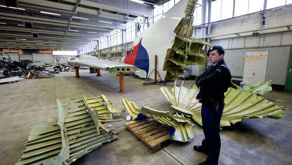 La police militaire néerlandaise à côté de fragments de l'avion du vol MH17 dans un hangar à la base aérienne de Gilze-Rijen, Pays-Bas, le 3 mars 2015 - Sputnik France