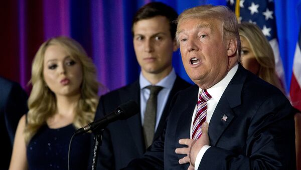 Republican presidential candidate Donald Trump is joined by his daughter Tiffany, left, and son-in-law Jared Kushner as he speaks during a news conference at the Trump National Golf Club Westchester,  June 7, 2016, in Briarcliff Manor, NY. - Sputnik France