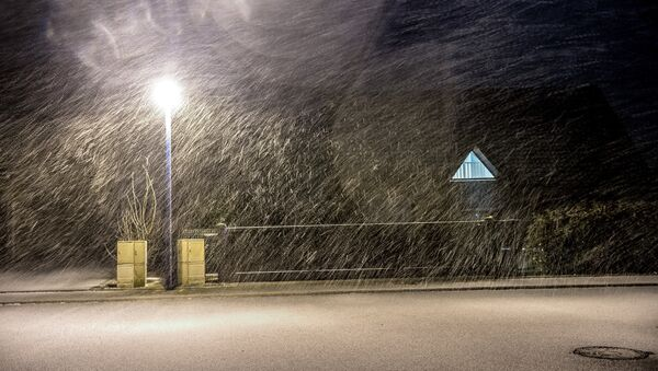 Strong winds and snow are pictured in Godewaersvelde, northern France, on January 12, 2017 as a winter storm started in northern France. - Sputnik France