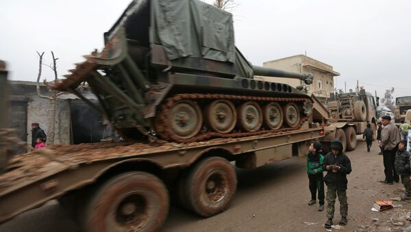 Turkish military vehicles drive in the northern Syrian rebel-held town of al-Rai, Syria January 5, 2017. - Sputnik France