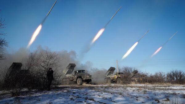 Militaires ukrainiens, lance-roquettes multiples Grad - Sputnik France