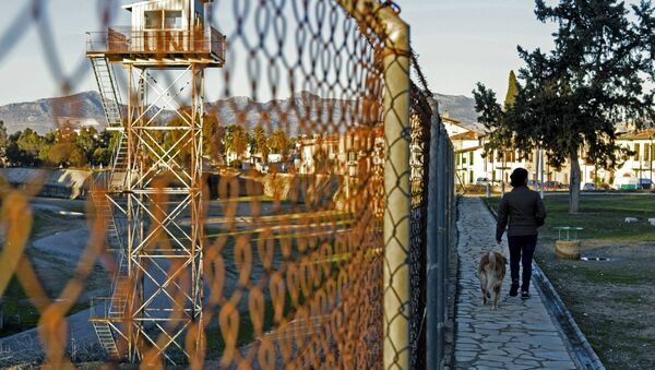 A woman walks her dog on the Turkish side of the green line, a UN controlled buffer zone separating the divided Cypriot capital Nicosia, on January 13, 2017. - Sputnik France